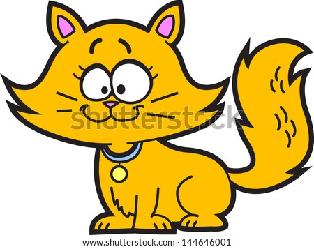 cute happy orange cartoon kitten