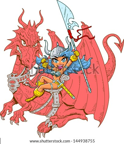 mythical girl dragon rider with