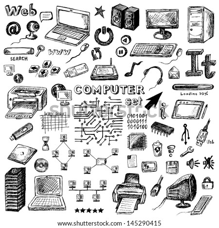 set of hand drawn computer