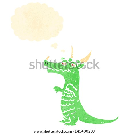 retro cartoon dragon with