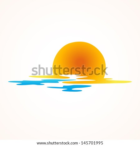 sunset and sea waves icon