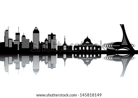 montreal skyline   black and