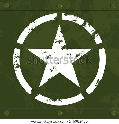 white army star on green metal