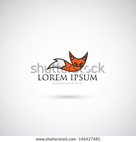 fox animal label   vector
