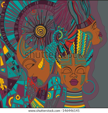 abstract vector african girls