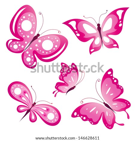 pink butterflies design vector