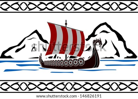 stencil of viking ship second