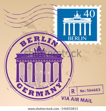 stamp set with words berlin