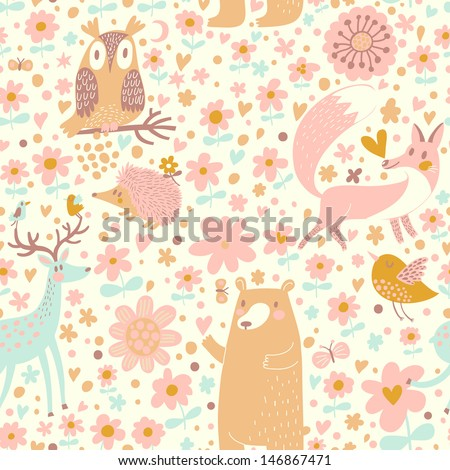 forest wallpaper with bear  owl