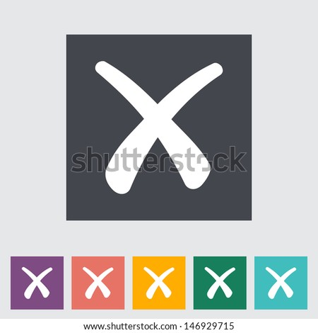 delete button single flat icon