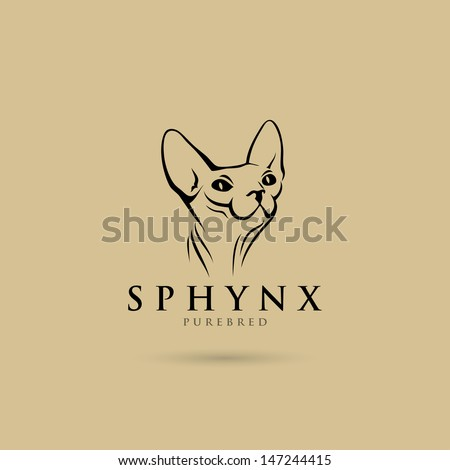 sphynx cat label   vector