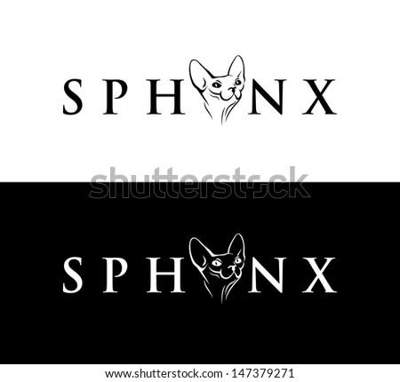 sphynx cat lettering   vector
