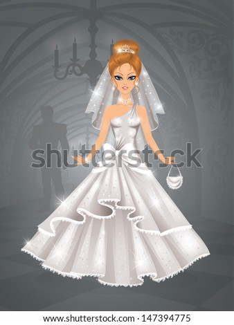 cute bride in a castle waiting