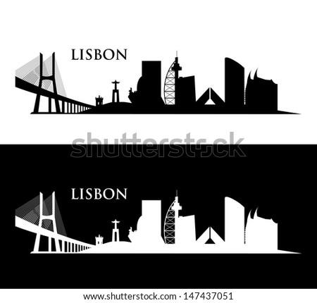 lisbon cityscape   vector