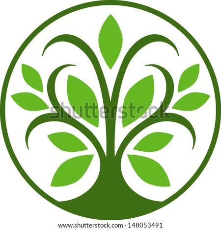 simple tree icon with green