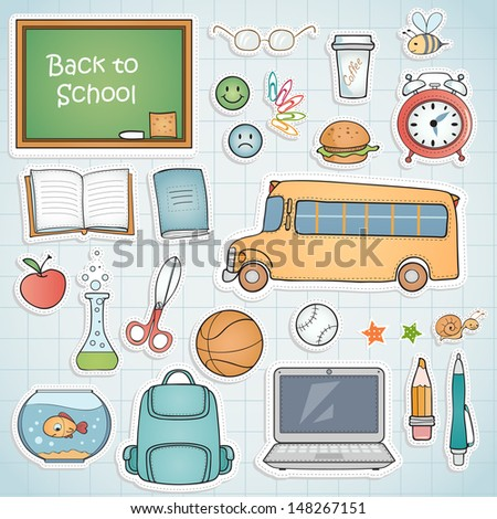 set of different school items