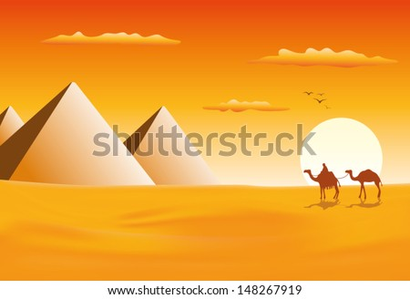 camel caravan at pyramids in