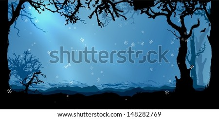 magic winter forest vector