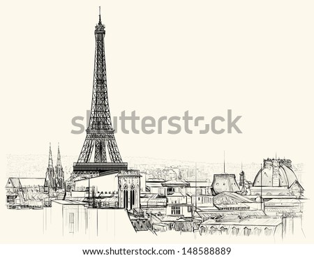 vector illustration of eiffel