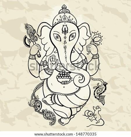 hindu god ganesha vector hand
