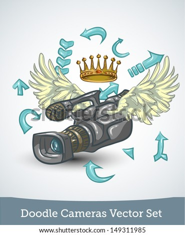 video camera with wings and