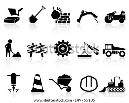 heavy construction icons set