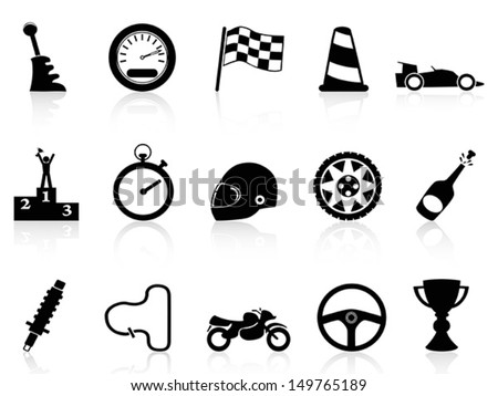 motor race icons set