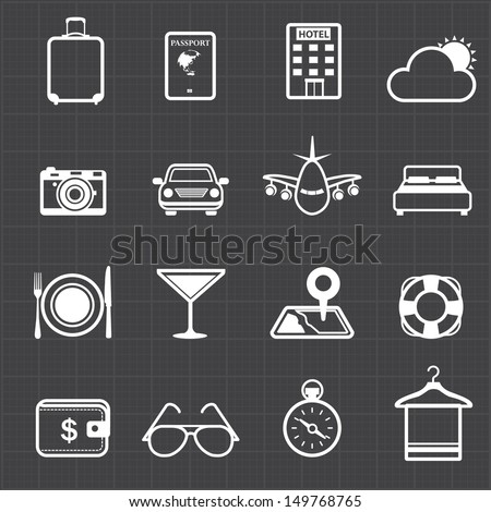 travel hotel holiday icons and