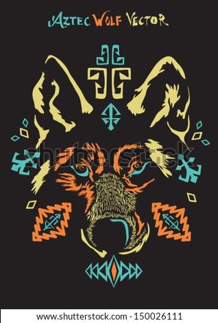 aztec wolf vector