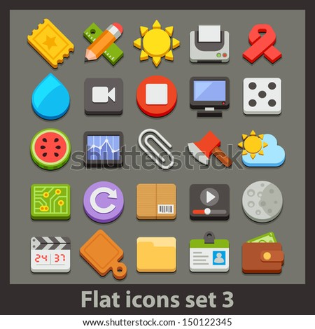 vector flat icon set 3