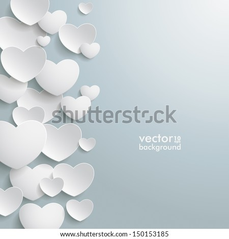 white hearts on the grey