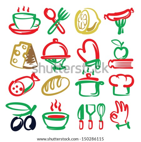 vector color kitchen icons set