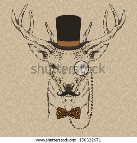 fashion illustration of deer