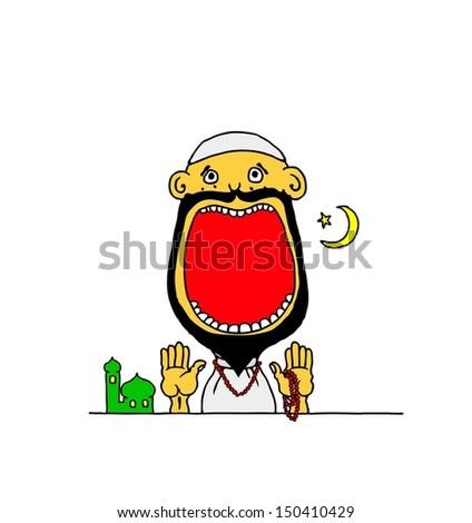 cartoon of a muslim boy wearing
