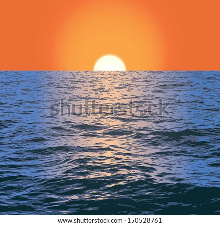 vector sea and sunset
