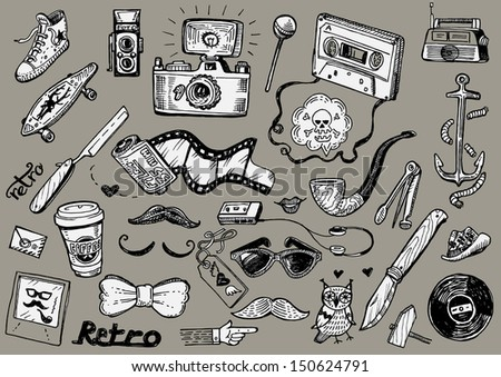 hipster doodles vector set