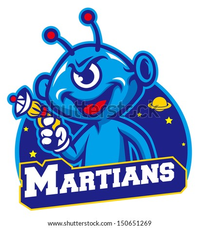 blue martian hold a laser gun