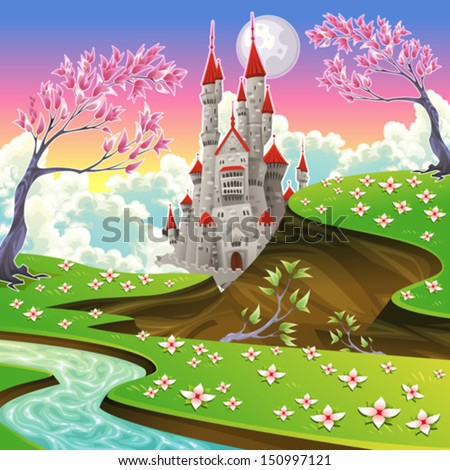 panorama with castle cartoon