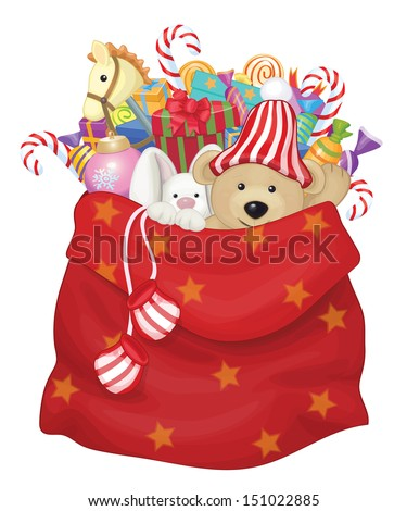 vector santa claus bag with