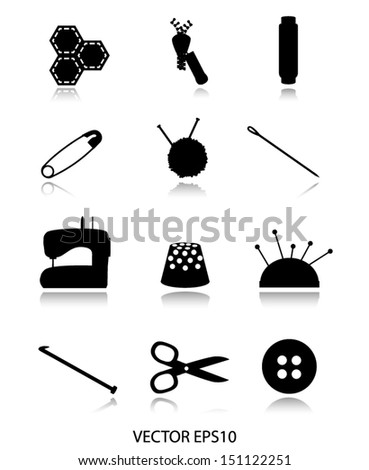 black sewing icons vector