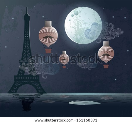 paris eiffel tower moon hot air