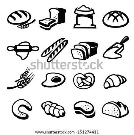 vector black bread icon set on