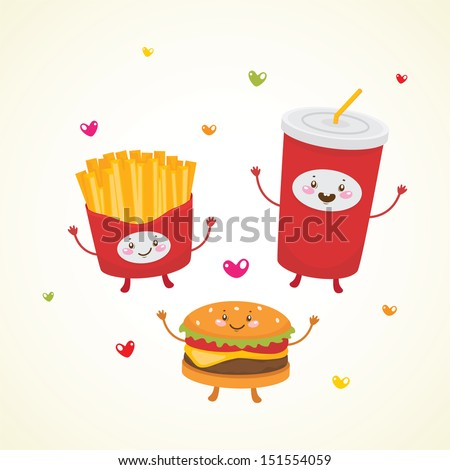 cute fast food  burger  soda