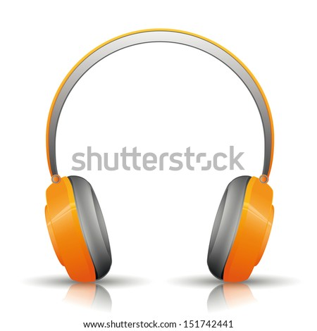 design of orange headphones