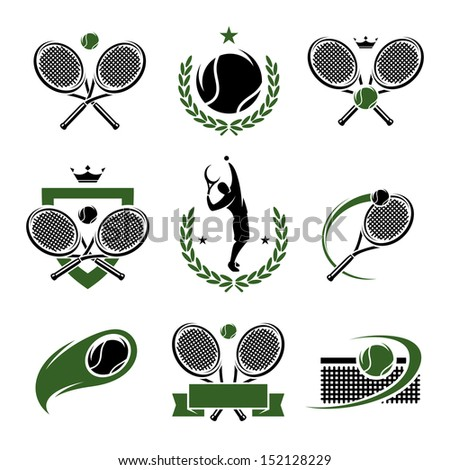 tennis labels and icons set