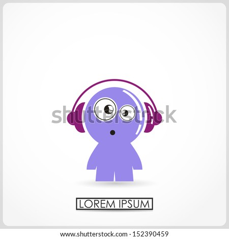 funny boy in headphones