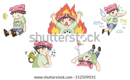 piggy boy cartoon icon in
