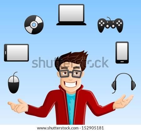 cheerful  smiling computer geek