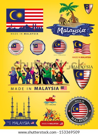 made in malaysia  seals flags