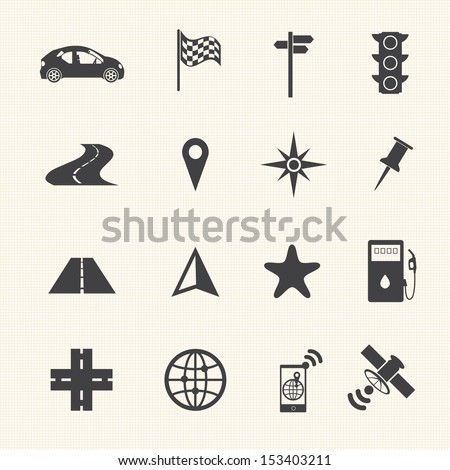 navigation icons set on texture